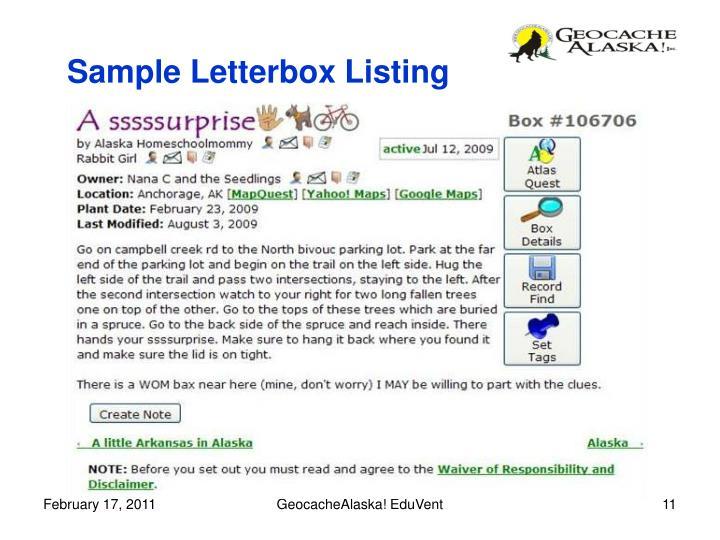 Sample Letterbox Listing