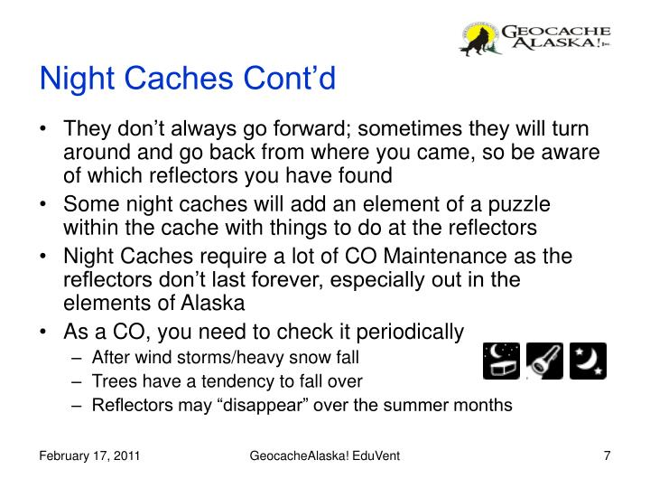 Night Caches Cont'd