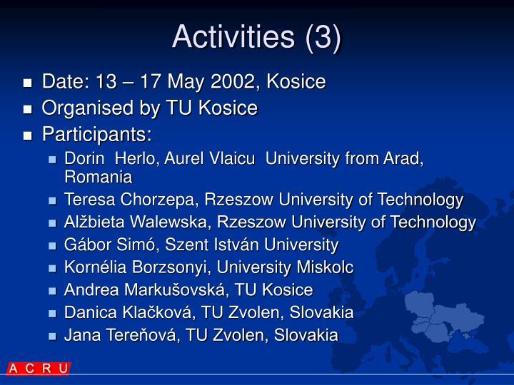 Activities (3)