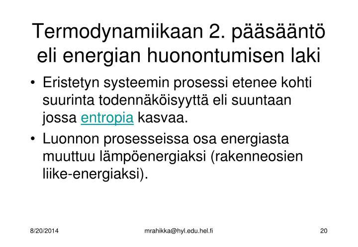 Termodynamiikaan 2. pääsääntö