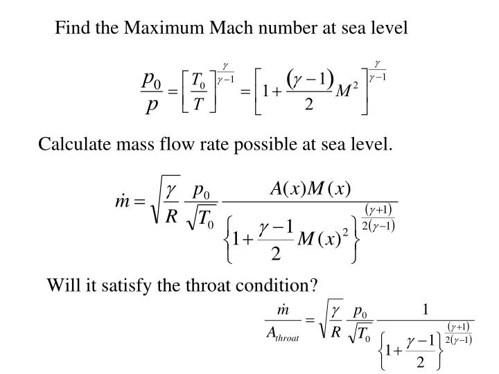 Find the Maximum Mach number at sea level