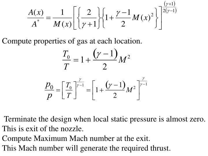 Compute properties of gas at each location.