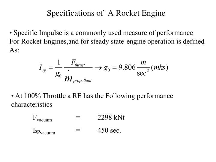 Specifications of  A Rocket Engine