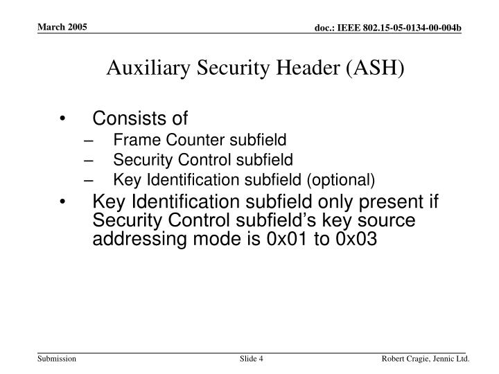 Auxiliary Security Header (ASH)