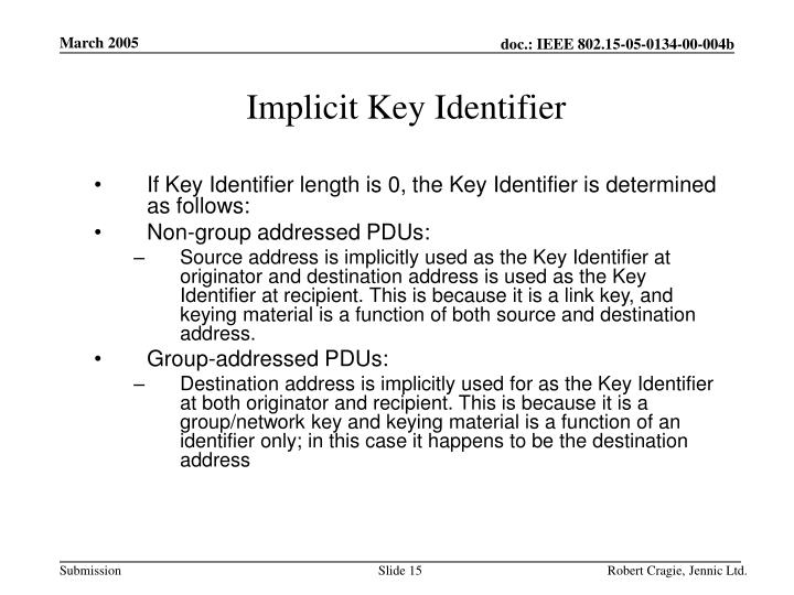 Implicit Key Identifier