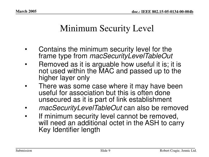 Minimum Security Level