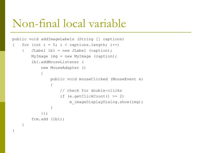 Non-final local variable
