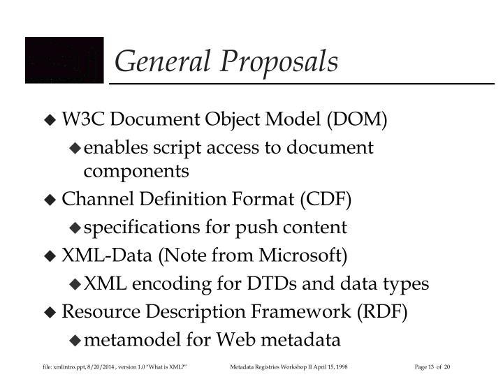 General Proposals