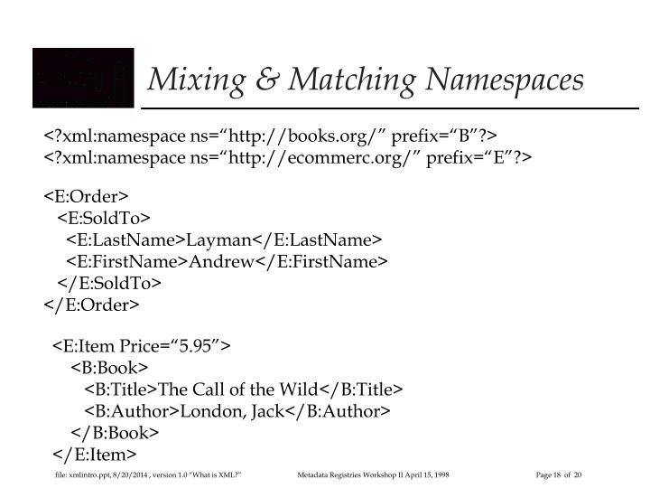 Mixing & Matching Namespaces