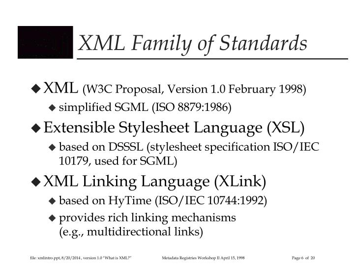 XML Family of Standards
