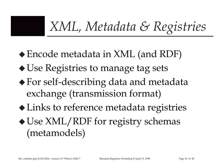 XML, Metadata & Registries