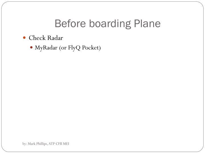 Before boarding Plane