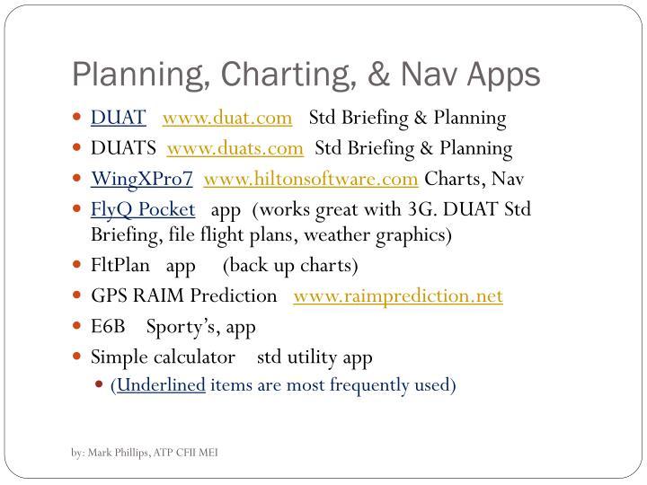 Planning, Charting, & Nav Apps