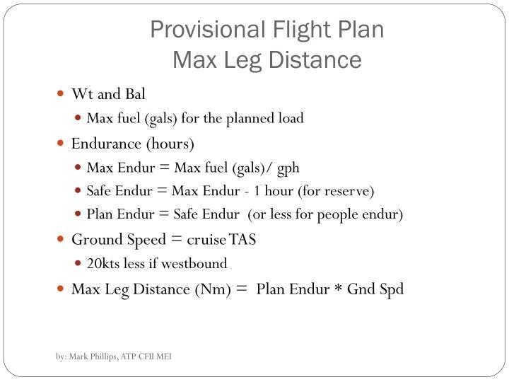 Provisional Flight Plan