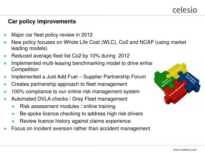 Car policy improvements