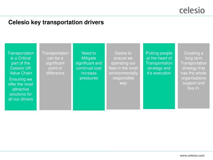 Celesio key transportation drivers