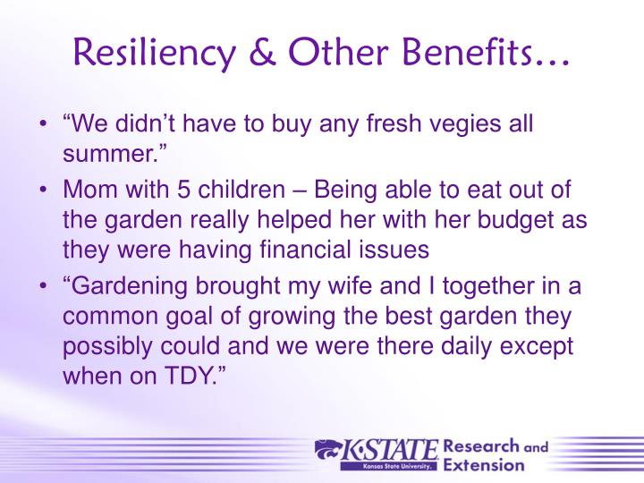 Resiliency & Other Benefits…