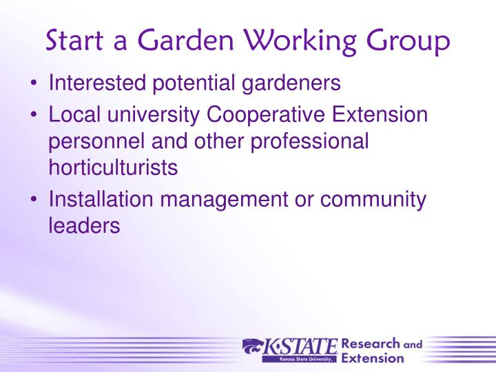 Start a Garden Working Group