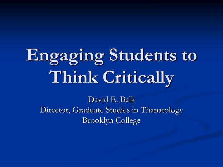 college students critical thinking skills