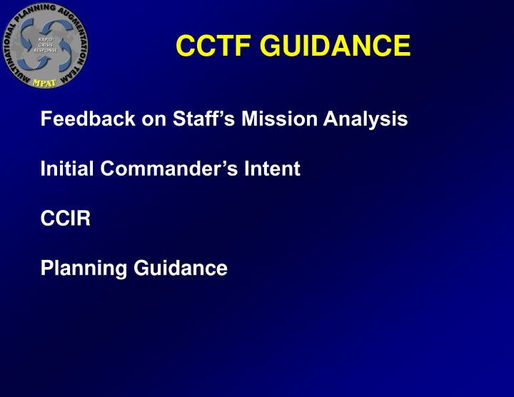 CCTF GUIDANCE
