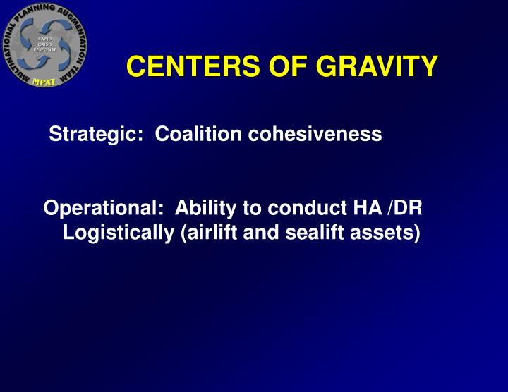 CENTERS OF GRAVITY