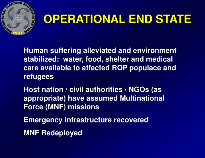 OPERATIONAL END STATE