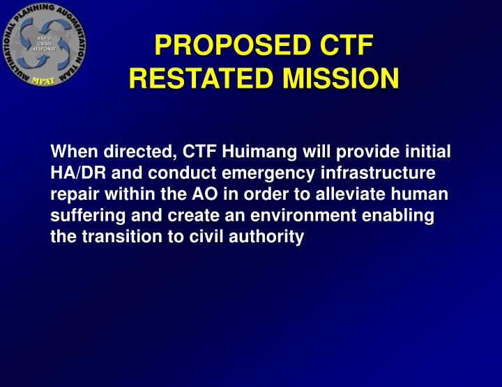 PROPOSED CTF