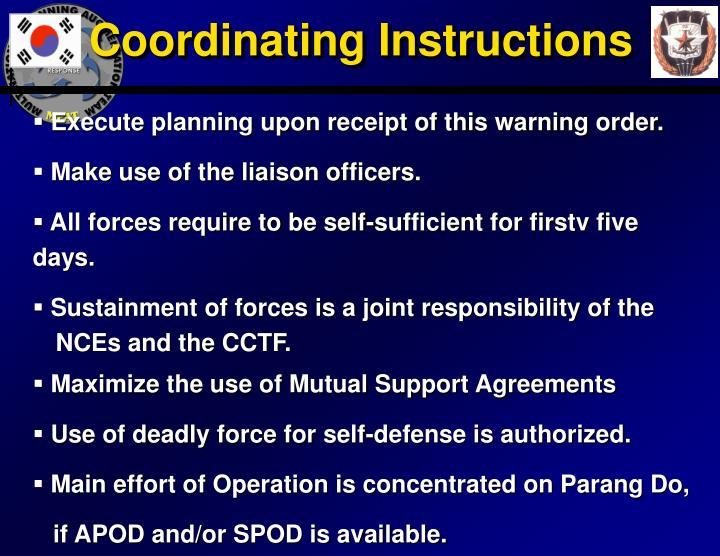 Coordinating Instructions