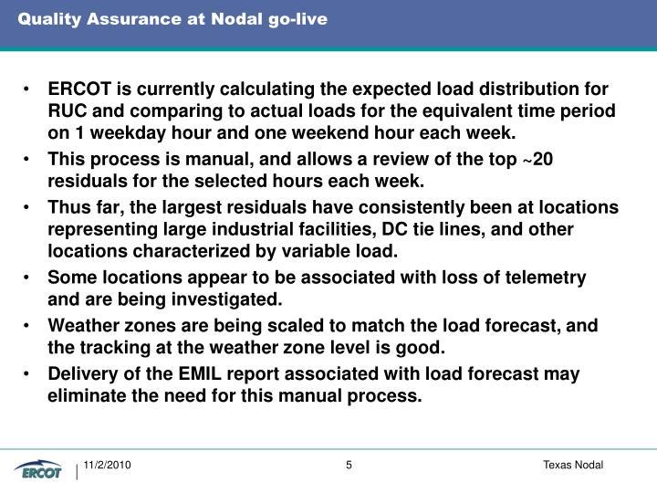 Quality Assurance at Nodal go-live