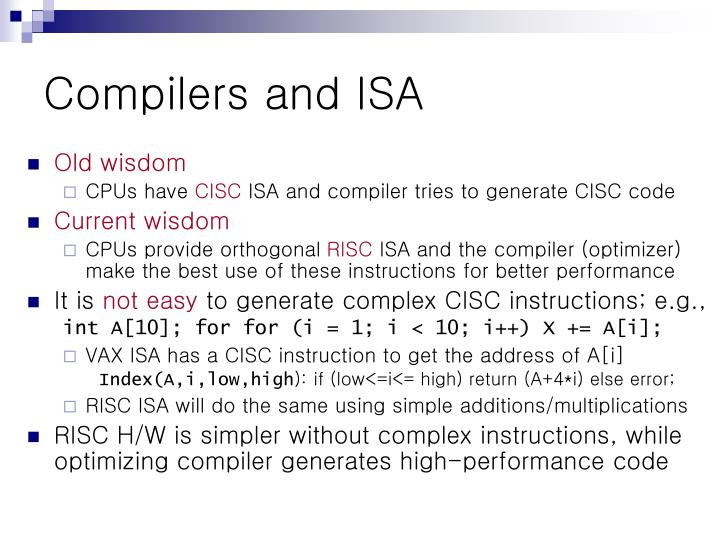Compilers and ISA