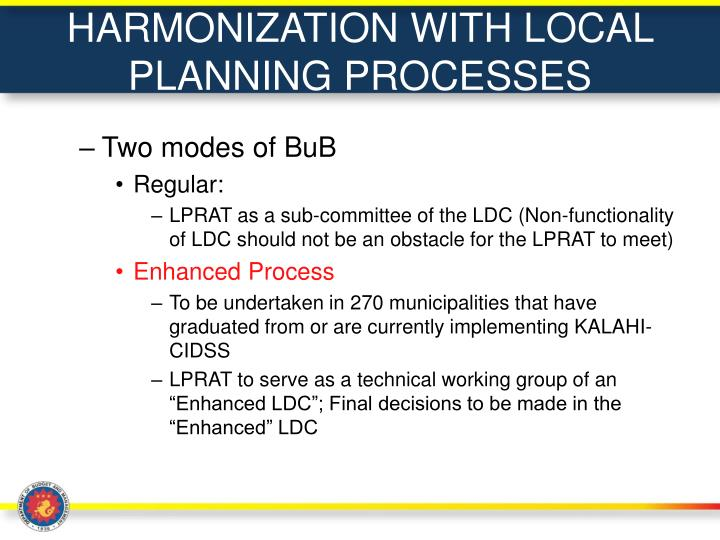 HARMONIZATION WITH LOCAL PLANNING PROCESSES