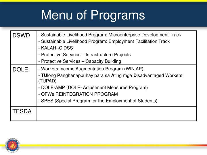 Menu of Programs