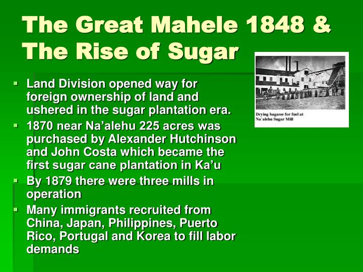 The Great Mahele 1848 & The Rise of Sugar
