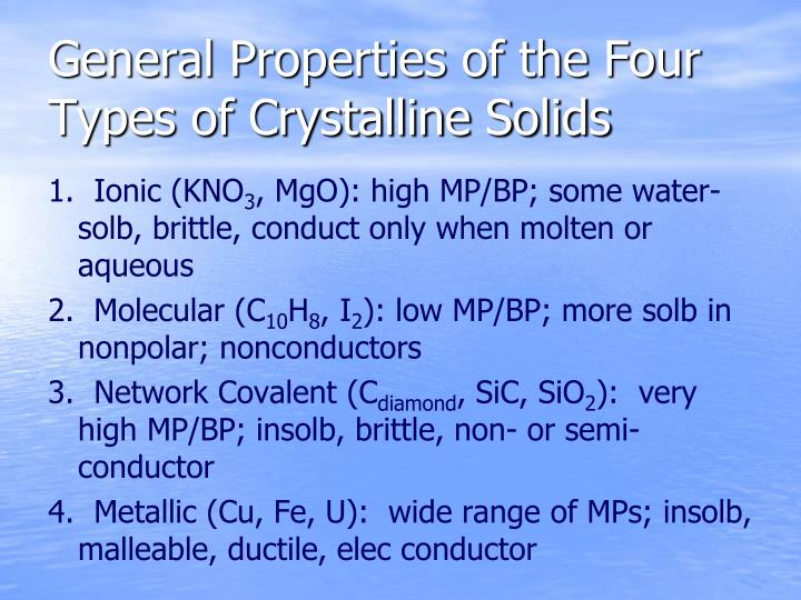 General Properties of the Four Types of Crystalline Solids