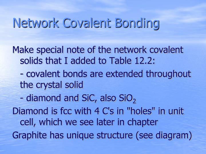 Network Covalent Bonding