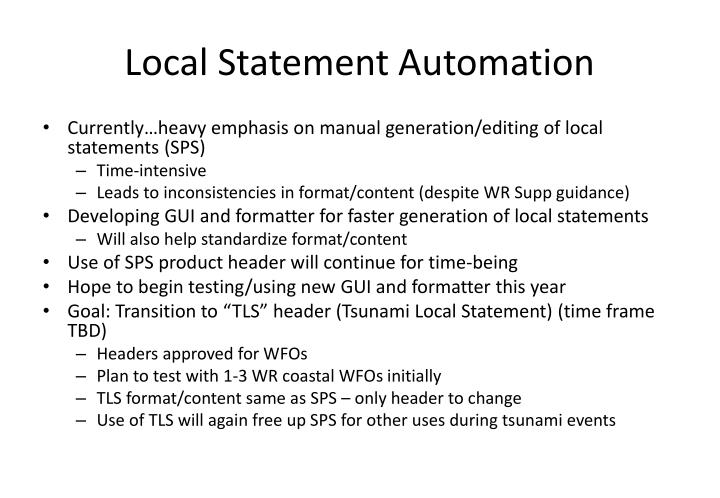 Local Statement Automation