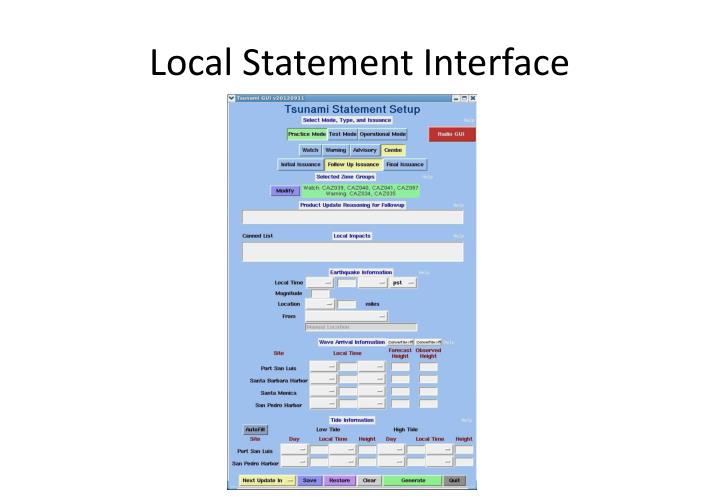 Local Statement Interface