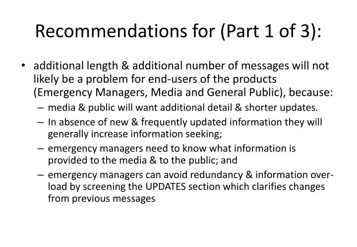 Recommendations for (Part 1 of 3):