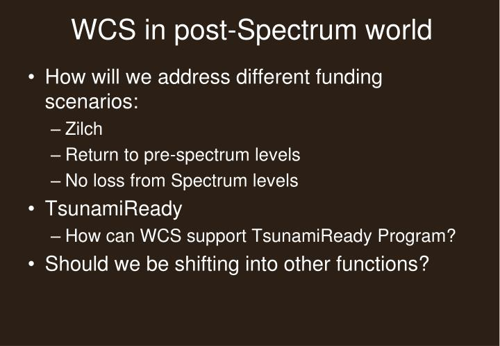 WCS in post-Spectrum world