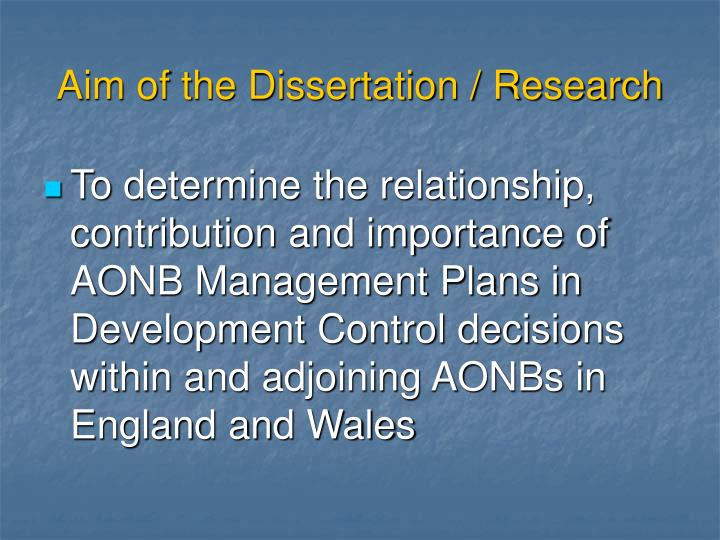 Aim of the Dissertation / Research