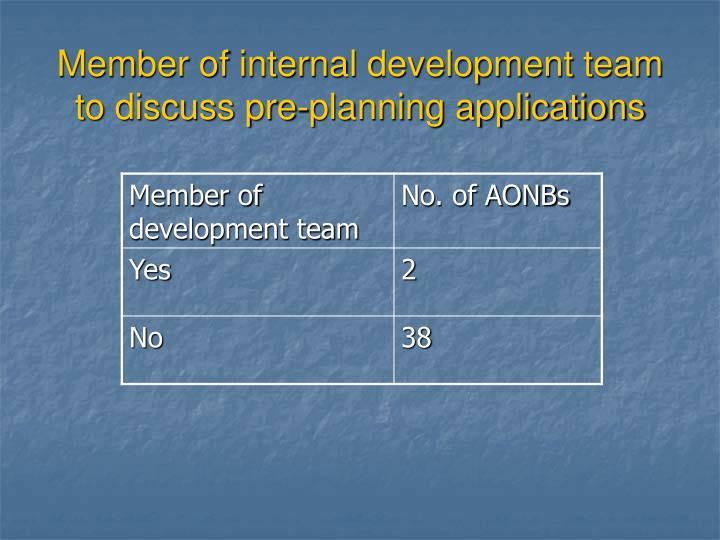 Member of internal development team to discuss pre-planning applications