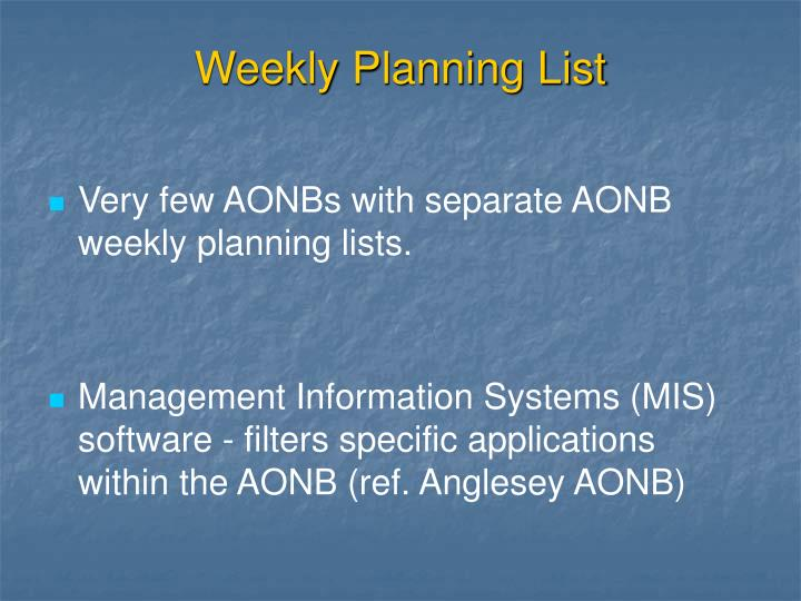 Weekly Planning List