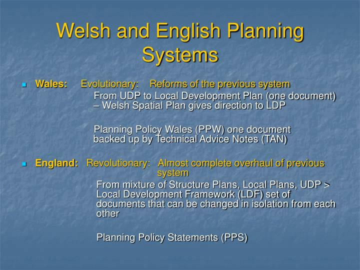 Welsh and English Planning Systems