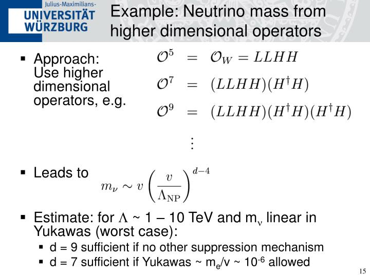 Example: Neutrino mass from higher dimensional operators