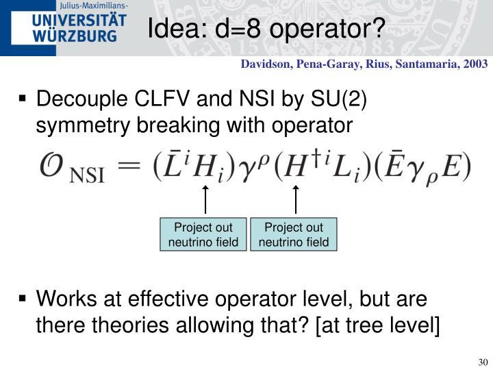 Idea: d=8 operator?