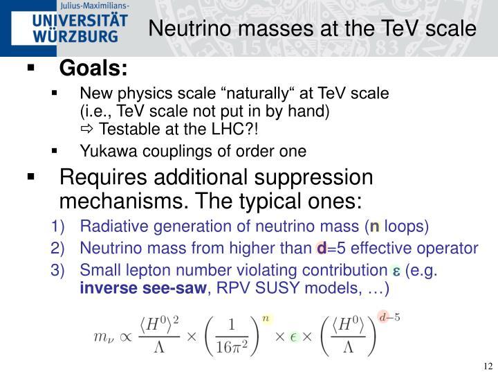 Neutrino masses at the TeV scale