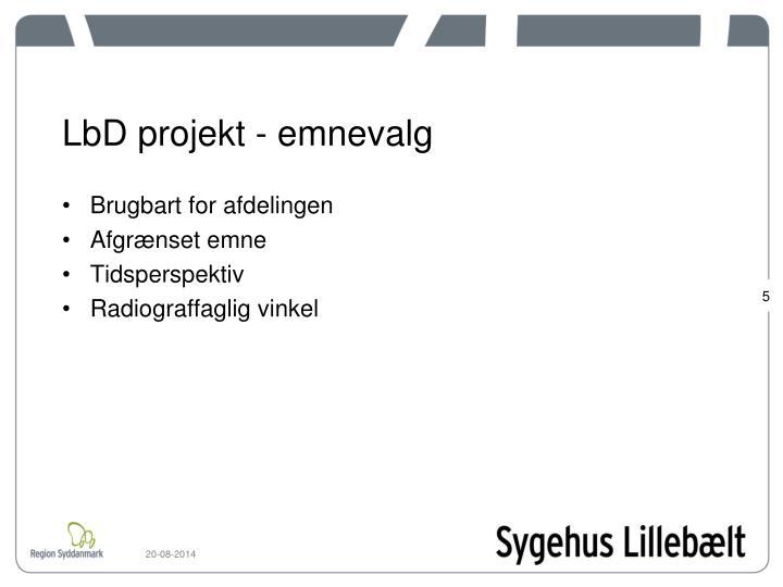 LbD projekt - emnevalg