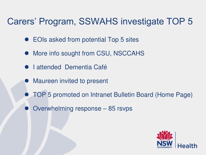Carers' Program, SSWAHS investigate TOP 5
