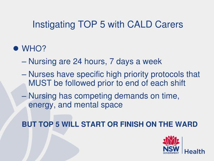 Instigating TOP 5 with CALD Carers