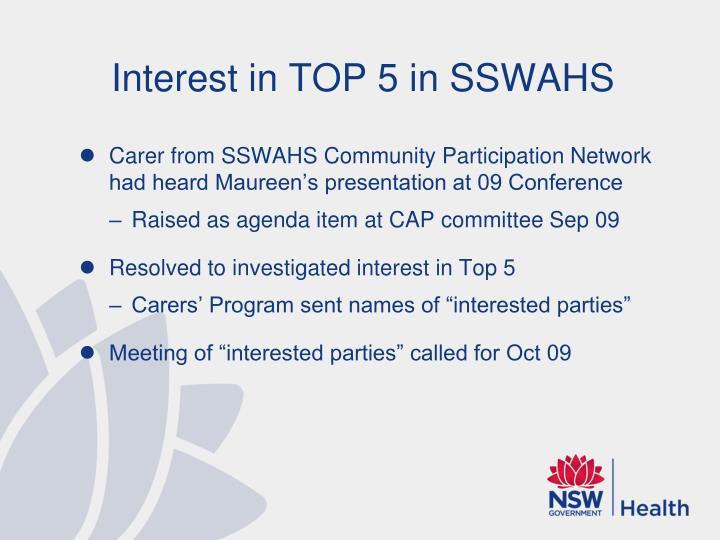 Interest in TOP 5 in SSWAHS